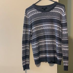 Grey and White Patterned Winter Sweater